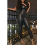 Lovely Euramerican Skinny Black PU  One-piece Jumpsuit