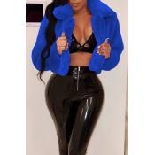Lovely Euramerican Long Sleeves Blue Cotton Coat