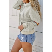 Lovely Casual Patchwork Light Grey Blending Hoodie