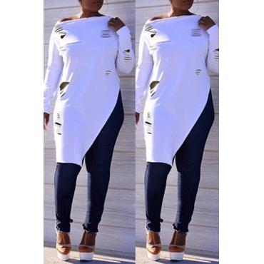Lovely Casual Irregular Hems Long Sleeves White T-shirt