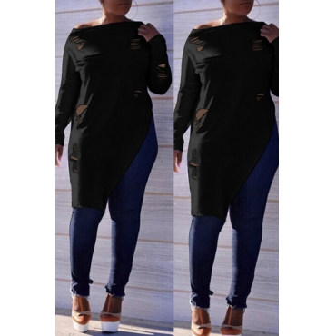 Lovely Casual  Irregular Hems  Long Sleeves Black T-shirt