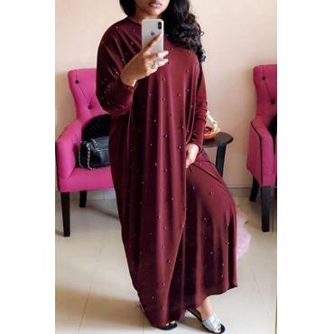 Lovely Sweet Nail Bead Design Wine Red Floor Length Dress