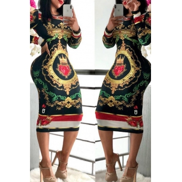 Lovely Casual Printed Black Knee Length Dress