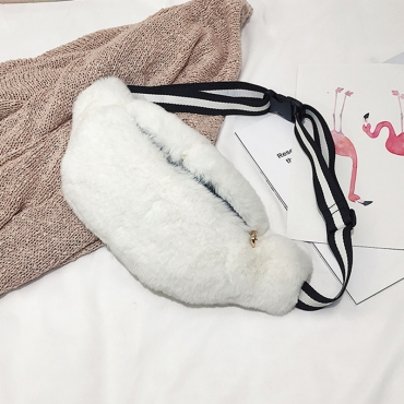 Lovely  Fashion Downy White Velvet Crossbody