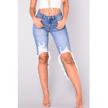 Lovely Casual Raw Edge Blue Jeans
