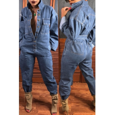 Lovely Casual Open Front With Button Loose Baby Blue Denim One-piece Jumpsuit