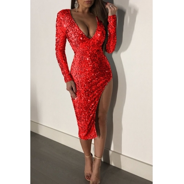 Lovely Sexy Side High Slit Red Sequined Knee Length Dress