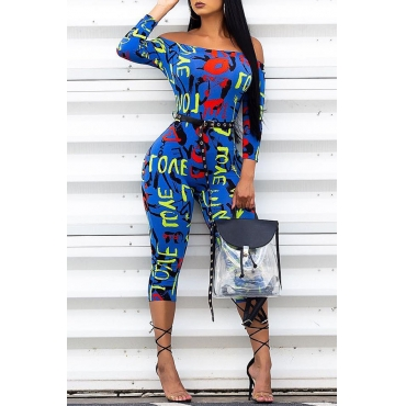 Lovely Euramerican Printed Skinny Blue Blending One-piece Jumpsuit