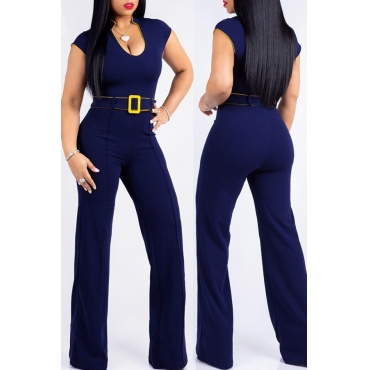 Lovely Casual Loose Dark Blue Blending One-piece Jumpsuit