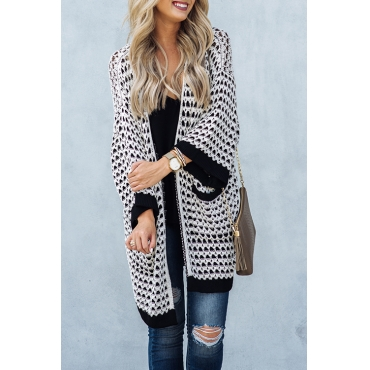 Lovely Casual Long Sleeves Geometric Printed White Acrylic Cardigan Sweaters