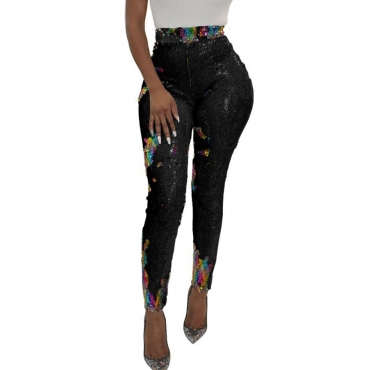 Lovely Euramerican Sequined Decorative Skinny Black PU Pants
