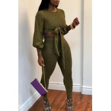 Grazioso Moderno Pantalone A Due Pezzi Verde Con Lacci