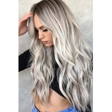 Lovely Euramerican Long Curly Synthetic Grey Wigs
