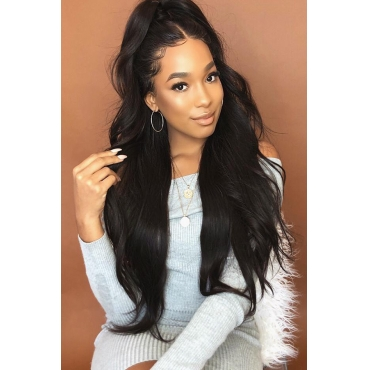 Lovely Euramerican Natural Looking Black Wigs