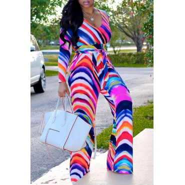 Lovely Casual Striped Loose Multicolor Twilled Satin One-piece Jumpsuit
