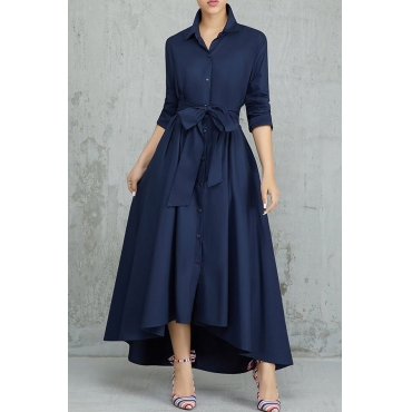 Lovely Elegant Buttons Design Dark Blue Tatting Ankle Length Dress