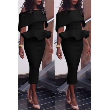 Lovely Elegant Dew Shoulder Pencil Black Mid Calf Dress