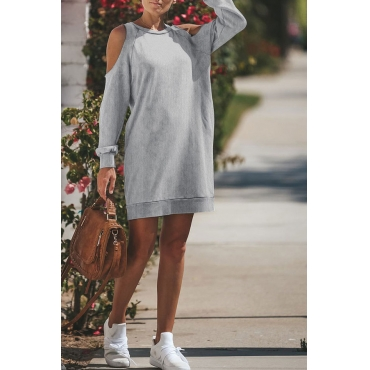 Lovely Casual Dew Shoulder Grey Blending Mini Dress