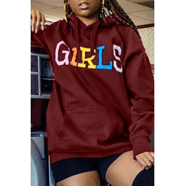 Lovely Casual Letters Printed Wine Red Hoodies
