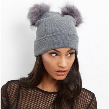 Lovely Euramerican Ball Shape Grey Sweater Hats