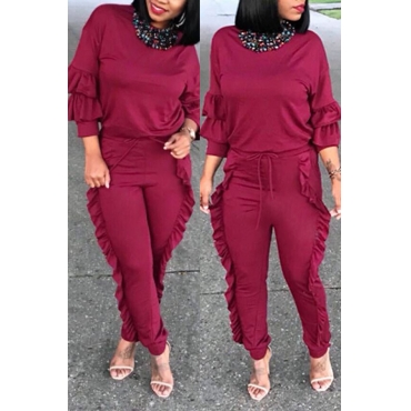 Lovely Chic Flounce Design Wine Red Twilled Satin Two-piece Pants Set