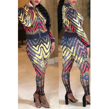 Lovely Euramerican Printed Multicolor Twilled Satin Two-piece Pants Set