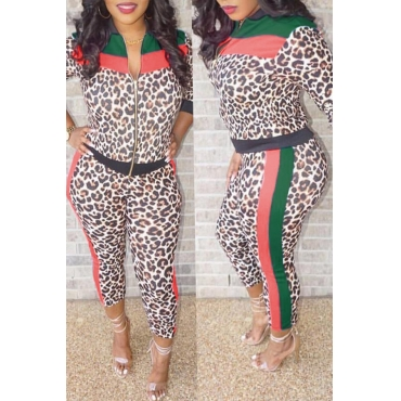 Lovely Euramerican  Leopard Printed Multicolor Twilled Satin Two-piece Pants Set