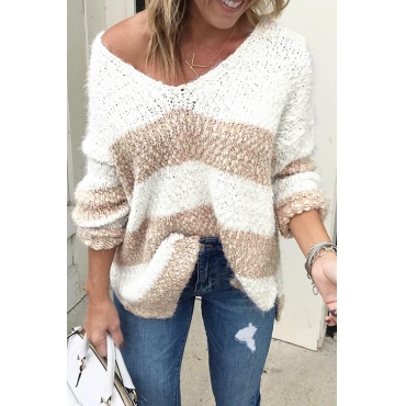 Lovely Casual Color-lump Patchwork Khaki Sweaters