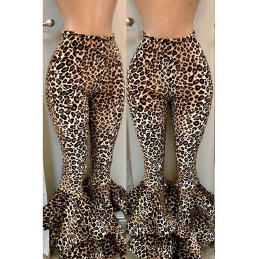 Lovely Chic Flared Leopard Printed  Blending Pants