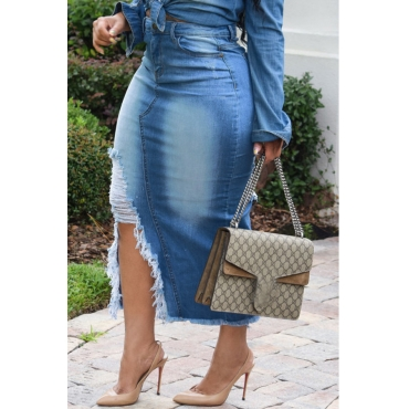 Lovely Casual Broken Holes Slim Blue Denim Mid Calf Skirts