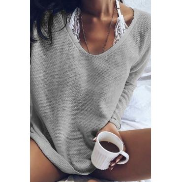 Lovely Euramerican Long Sleeves Grey Acrylic Sweaters