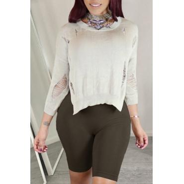 Lovely Euramerican Broken Holes Creamy White Knitting Sweaters