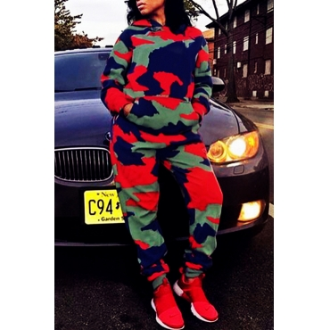 Lovely Casual Hooded Collar Camouflage Printed Twilled Satin Two-piece Pants Set