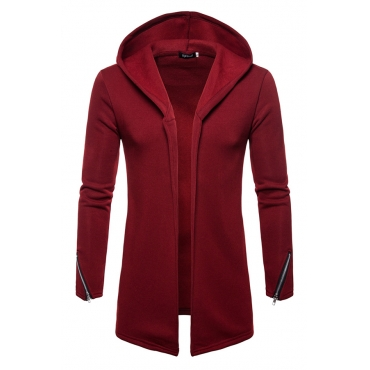 Lovely Casual  Hooded Collar Wine Red Cardigan Hoodies