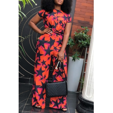 Lovely Euramerican Printed Red Twilled Satin Two-piece Pants Set