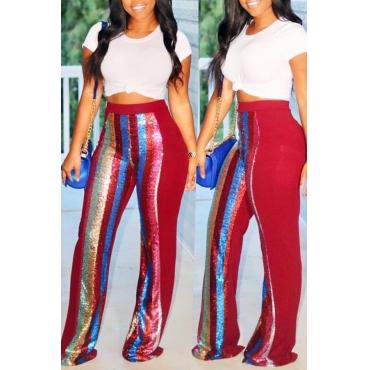 Lovely Euramerican Patchwork Red Twilled Satin Two-piece Pants Set