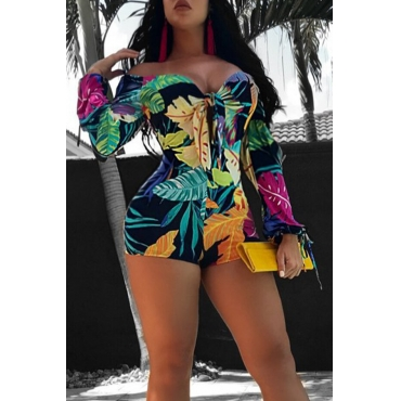 Lovely Sweet Printed Skinny Multicolor Knitting One-piece Romp