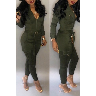 Lovely Chic Pockets Skinny Green One-piece Jumpsuit(Without Belt)