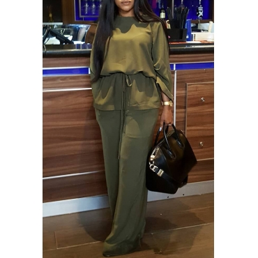 Lovely Casual Lace-up Army Green Blending Two-piece Pants Set