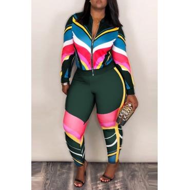 Lindo Sportswear Patchwork Verde Profundo Misturando Conjunto De Calças De Duas Peças