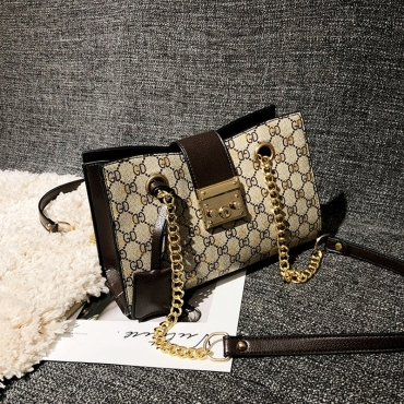 Lovely Chic Printed Brown PU Messenger