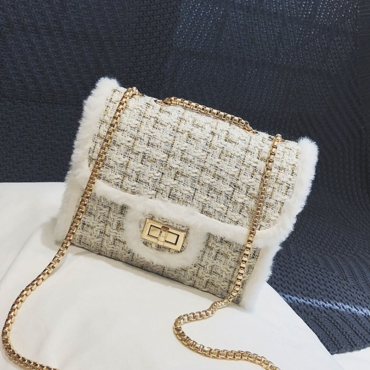 Precioso Patchwork Casual Messenger Blanco