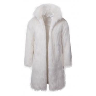 Lovely Euramerican Long Sleeves White Faux Fur Coat