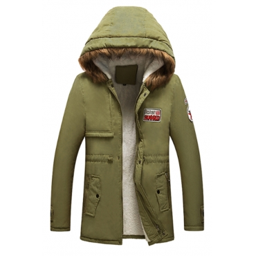 Lovely Euramerican  Hooded Collar Army Green Cottonpadded Clothes
