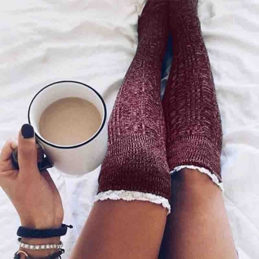 Lovely Casual Patchwork Long Wine Red Socks