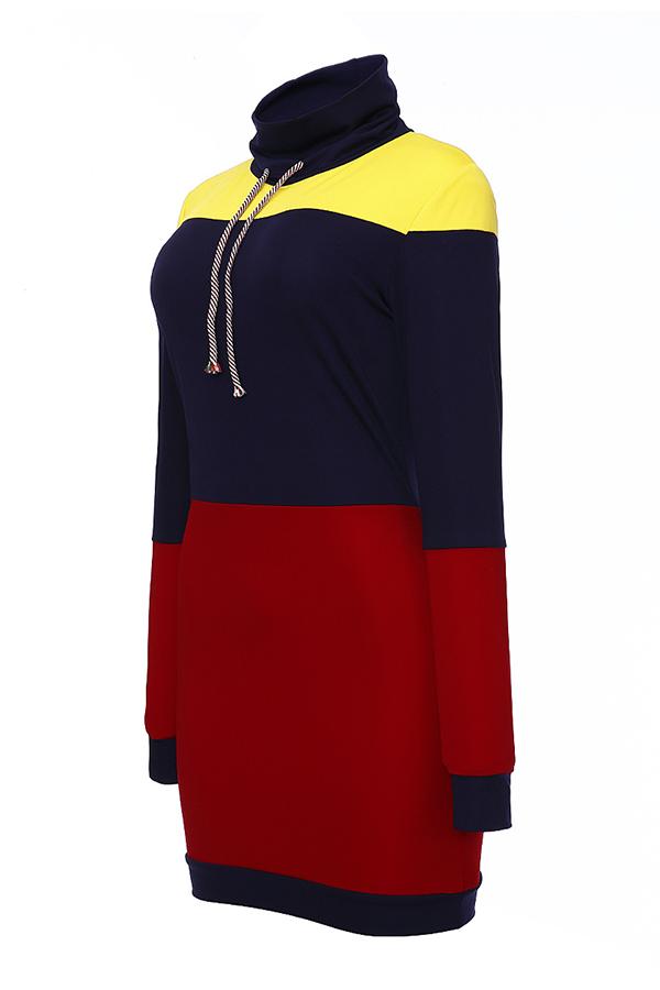 Lovely Euramerican Patchwork Red Mini Dress