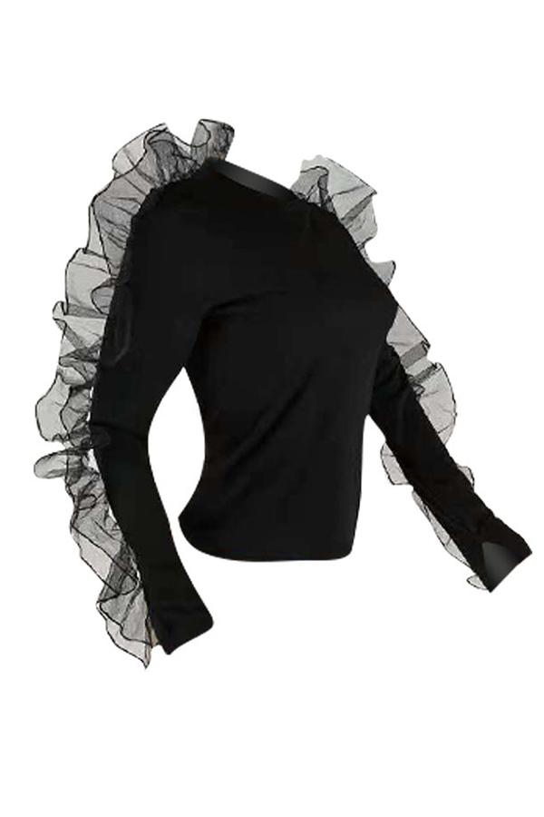 Lovely Casual Falbala Design Black Blending T-shirt