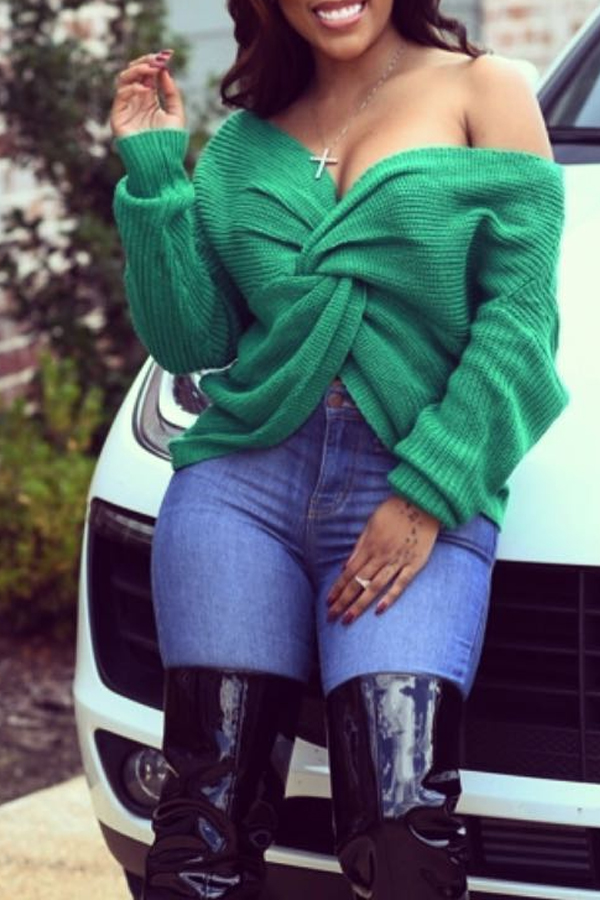 Lovely Fashion Both Sides Cross Green Sweaters