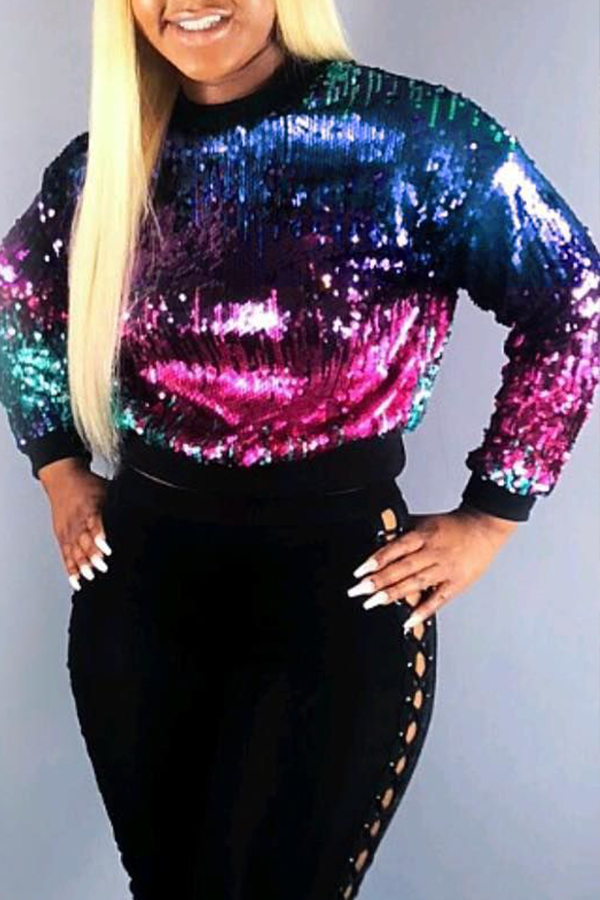 Lovely Casual Sequined Decorative Multicolor Hoodies