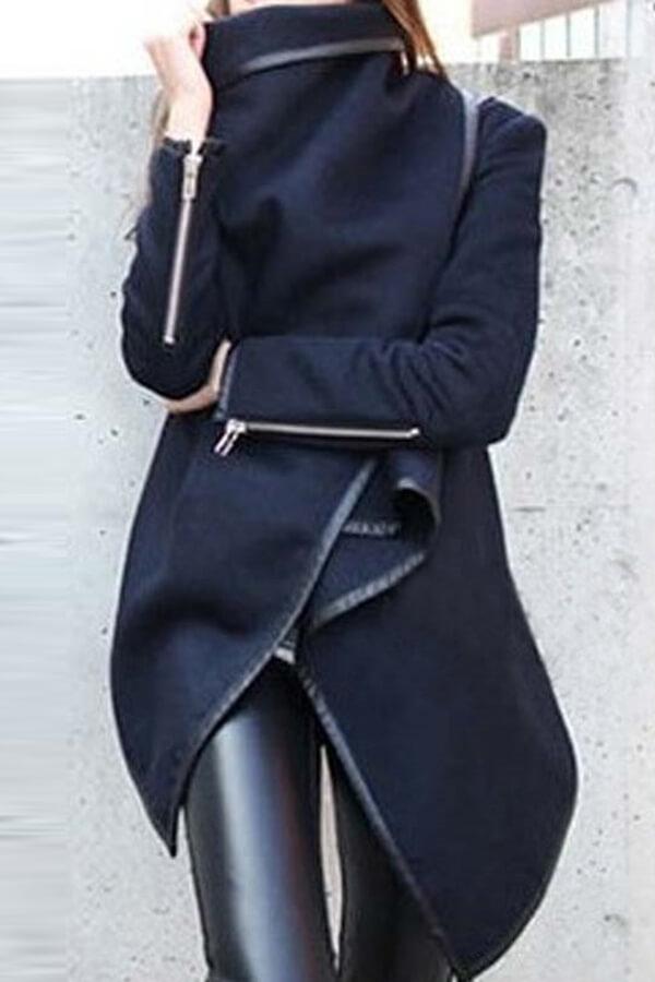 Lovely Casual Long Sleeves Irregular Dark Blue Coa